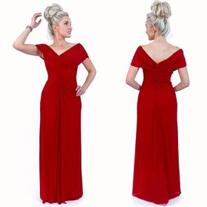 Red Off The Shoulder Evening Gown